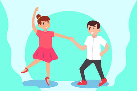 Ballerina vector concept: Young ballerina and young boy dancing together