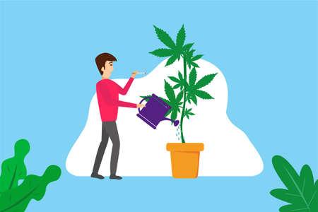 Addiction of cannabis vector: Young man watering cannabis plants while smoking cannabis