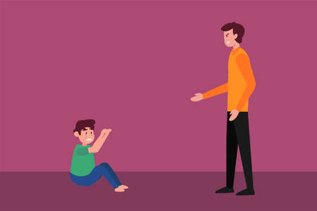 Child abuse vector concept: angry father hitting and scolding his sobbing son