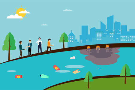 River conservation vector concept: group of businessmen observing the contaminated river stream