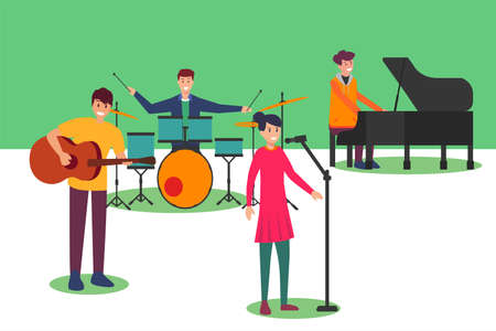 Acoustic band vector concept: band group performing pop music happily with acoustic instrument Illustration