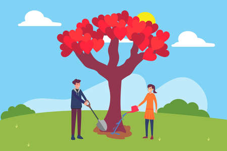 Valentine's Day vector concept: couple planting and watering big tree of love in the middle of the green hills Vettoriali