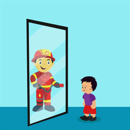 Child's dream vector concept: boy looking at the mirror, projecting reflection of a firefighter