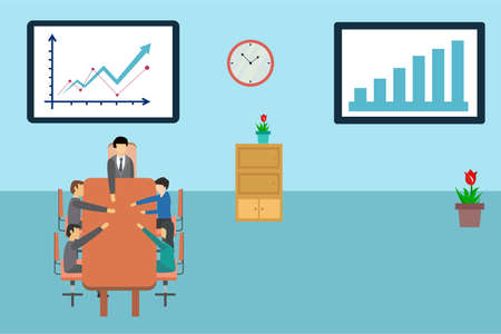 Business profit vector concept: business group holding hands together in the conference room