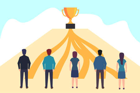 Business competition vector concept: business group standing at the pathway to the big trophy