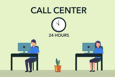 24 Hours Call Center vector concept: couple of operators taking calls through the desktop
