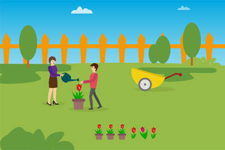 Gardening vector concept: couple watering a pot of rose on their lawn