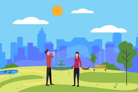 Jogging vector concept: couple resting and drinking water after working out at the city park while the other people having a picnic
