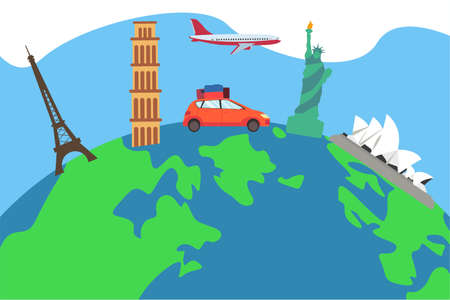 World travel vector concept: car carrying luggages traveling around the globe through world landmarks 向量圖像