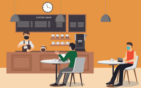 New Normal vector concept: coffee shop interior with barista and customers wearing face masks