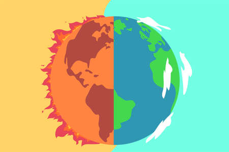 Global warming duality vector concept: burning and clean earth planet on both left and right sides 矢量图像