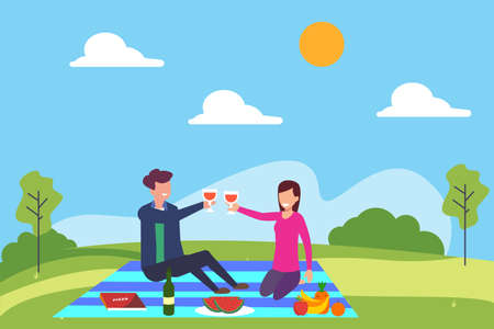 Picnic date vector concept: couple toasting their glasses of wine together while having a picnic