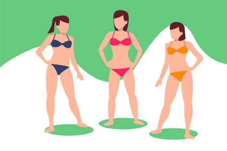 Bikini girls vector concept: group of sexy women posing and wearing bikini  イラスト・ベクター素材