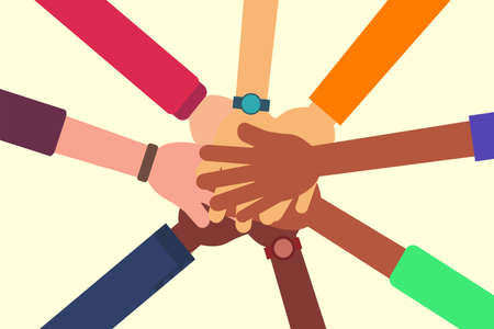 Friendship vector concept: closeup of diverse people's hands holding each other 矢量图像