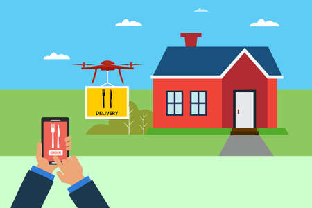 Fast food drone delivery vector concept: unidentified hands controlling the drone to deliver the fast food package