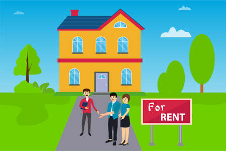 House for rent vector concept: couple talking to real estate agent happily about renting a house