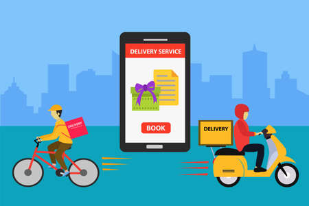 Delivery Service vector concept: couriers delivering each of their packages with bicycle and scooter