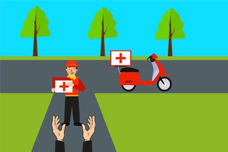 Medicine delivery vector concept: happy courier delivering a medicine package
