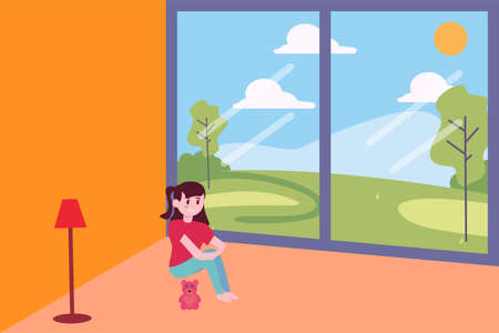 Abused child vector concept: girl crying and hugging her knees in the corner