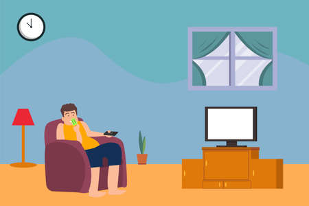 Obesity vector concept: fat man eating ice cream while watching television