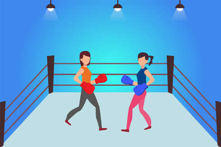 Female amateur boxing vector concept: two female boxers holding a boxing match in the ring