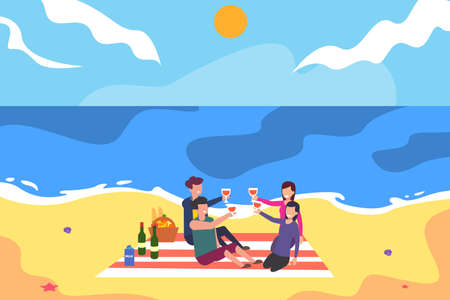 Family picnic vector concept: group of family toasting their wine together happily while having a picnic at the beach