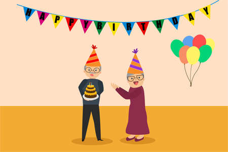 Grandfather birthday vector concept: old couple celebrating the grandfather's birthday happily