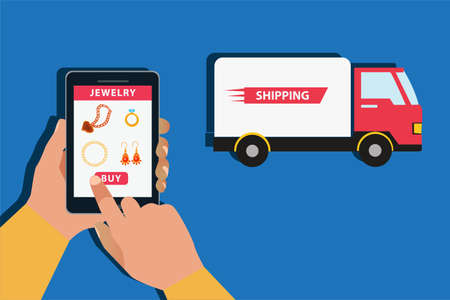 Jewelry delivery vector concept: unidentified hands purchasing jewelries with online shopping application