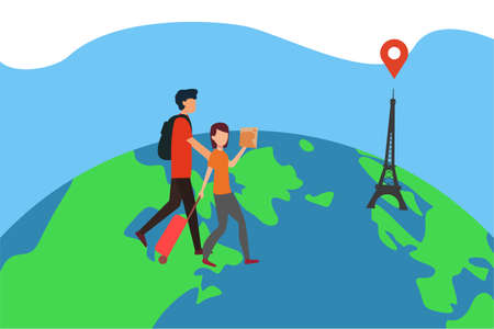 France travel vector concept: couple walking towards the Eiffel tower with a guide in their hands on the globe 向量圖像