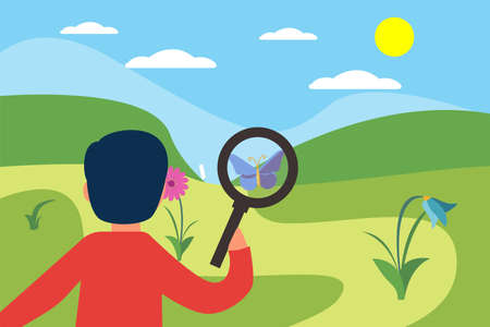 Entomology vector concept: closeup of unknown boy looking closely at the flying butterfly through magnifying glass in the middle of the green hills Illusztráció