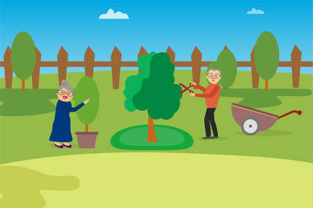 Gardening vector concept: old couple pruning their trees happily