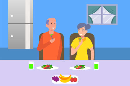 Healthy lifestyle vector concept: portrait of old couple eating salad happily in the dining room Ilustración de vector