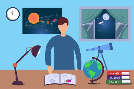 Astronomy study vector concept: portrait of teen boy studying astronomy at night