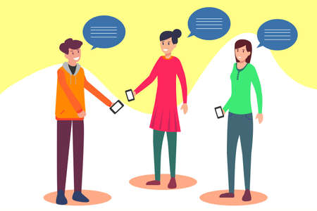 Hipster vector concept: group of teenagers interacting each other happily while holding their own smart phones