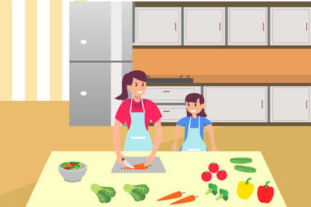 Family time vector concept: portrait of mother and daughter cooking vegetables together in the kitchen Vektoros illusztráció