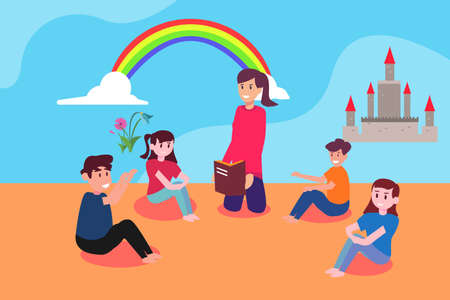 Story telling vector concept: teacher telling tales happily from the book to her kindergarten students Ilustração