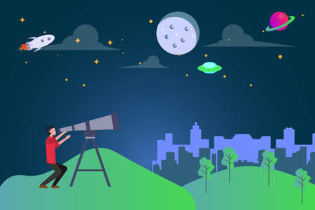 Astronomy vector concept: man observing the night galaxy sky at the hills