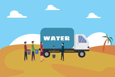 Water supply vector concept: group of people asking for tap water to the water truck driver