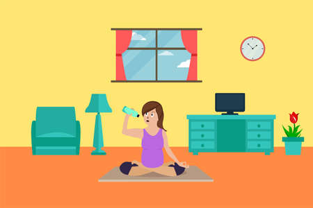 Prenatal yoga vector concept: pregnant woman drinking bottled water while doing lotus pose of yoga in the living room