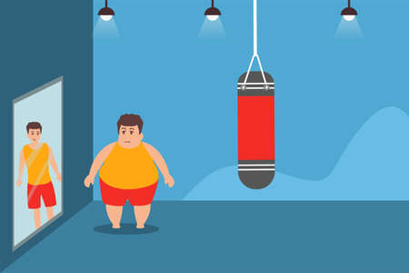 Weight loss desire vector concept: fat man staring at the mirror reflecting his thin self