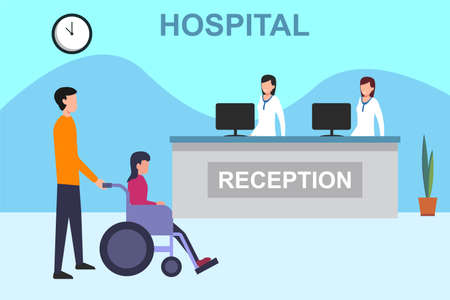 Hospital reception vector concept: man accompanying his ill wife on the wheelchair while waiting at the hospital receptionist