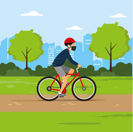 New Normal lifestyle vector concept: man wearing face mask while bicycling at the city park