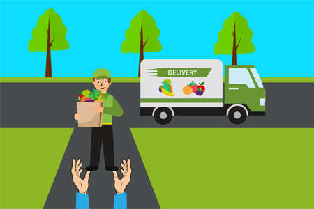 Fruit delivery vector concept: happy courier delivering a bag full of groceries