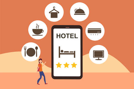 Online hotel reservation vector concept: woman walking with her bags under big phone projecting hotel reservation app and its icons  イラスト・ベクター素材