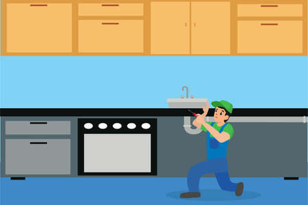 Plumbing vector concept: plumber fixing the leak on the sink drain in the kitchen