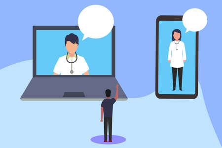 Online checkup vector concept: man doing health checkup by video calling the doctors through big laptop and smartphone