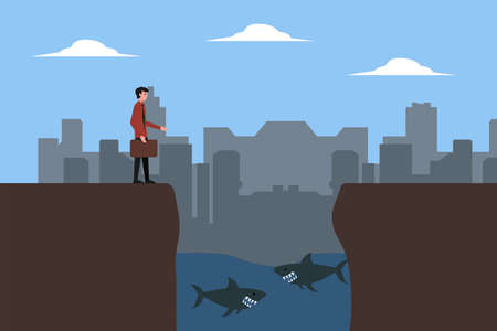 Business risk vector concept: businessman feeling scared of shark pond gap below him