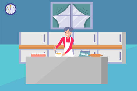 Grandma's cooking vector concept: old woman mixing the cake dough happily