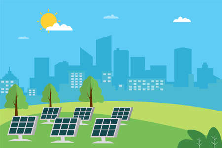 Solar panel vector concept: solar panels on hills generating electricity to the city Vettoriali