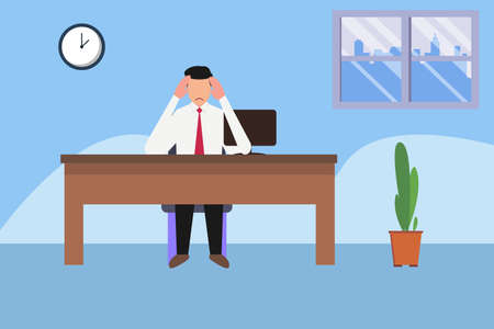 Overwork vector concept: businessman rubbing his head stressfully while working in his office